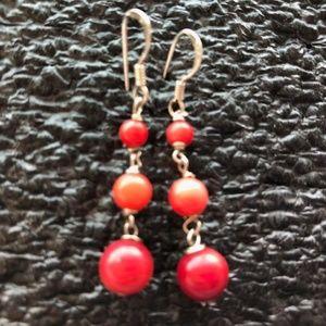 Jewelry - Vintage sterling silver coral? dangle earrings 925